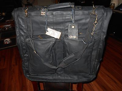 "Claire Chase Black Leather Garment Bag 44"" X 22"" Excellent Condition Luggage"