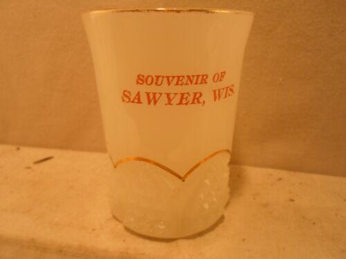 Sawyer Wi Wisc Wisconsin- clambroth glass souvenir tumbler