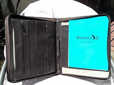 Passage 2 9276 Brown Leather Zippered Letter Sized Writing Pad Whandle