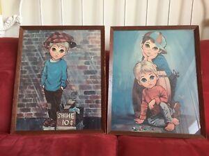 Vintage Big Eyes Children Litho Prints
