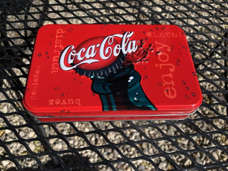 Coca Cola Collector Tin with 2 Decks of Bicycle Playing Cards 2001 New Sealed!