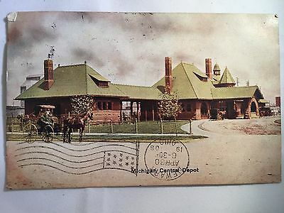 1908 Michigan Central Train Depot Kalamazoo, MI Postcard for sale  Leesburg