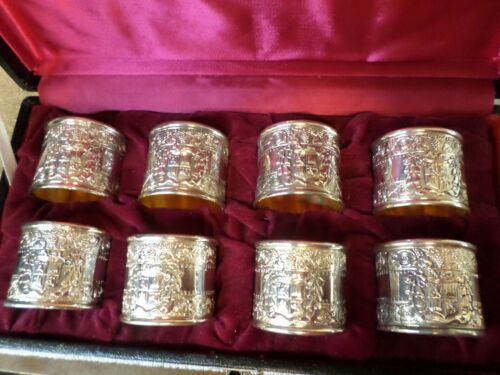 Vintage Ornate Monogram Silver plated with gold Napkins Rings made in Japan