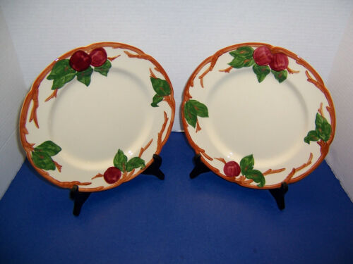 """USA Franciscan Red Apple 2 Dinner Plates (10.5"""") TV Backstamp Earthenware"""