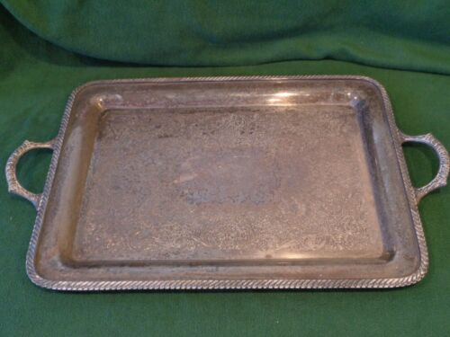 "WM Rogers 4091 20"" Serving Waiter Butler Silver Plated Tray Engraved Used"