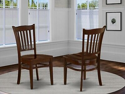Set of 2 Groton dinette kitchen dining chairs with wood seat in mahogany finish