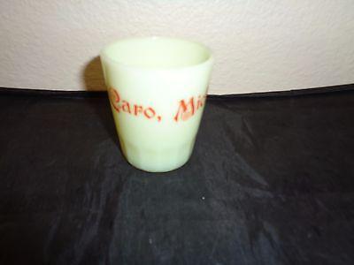 Custard Glass Souvenir Shot Glass Caro Michigan Vintage
