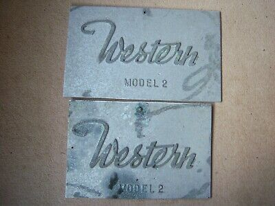 Vintage Cast Industrial Sign Plaques *Western Model 2* Removed from Farm Machine