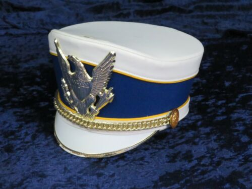 DeMoulin Marching Band Hat White with Blue and Gold with Hat Box #isi8921-23