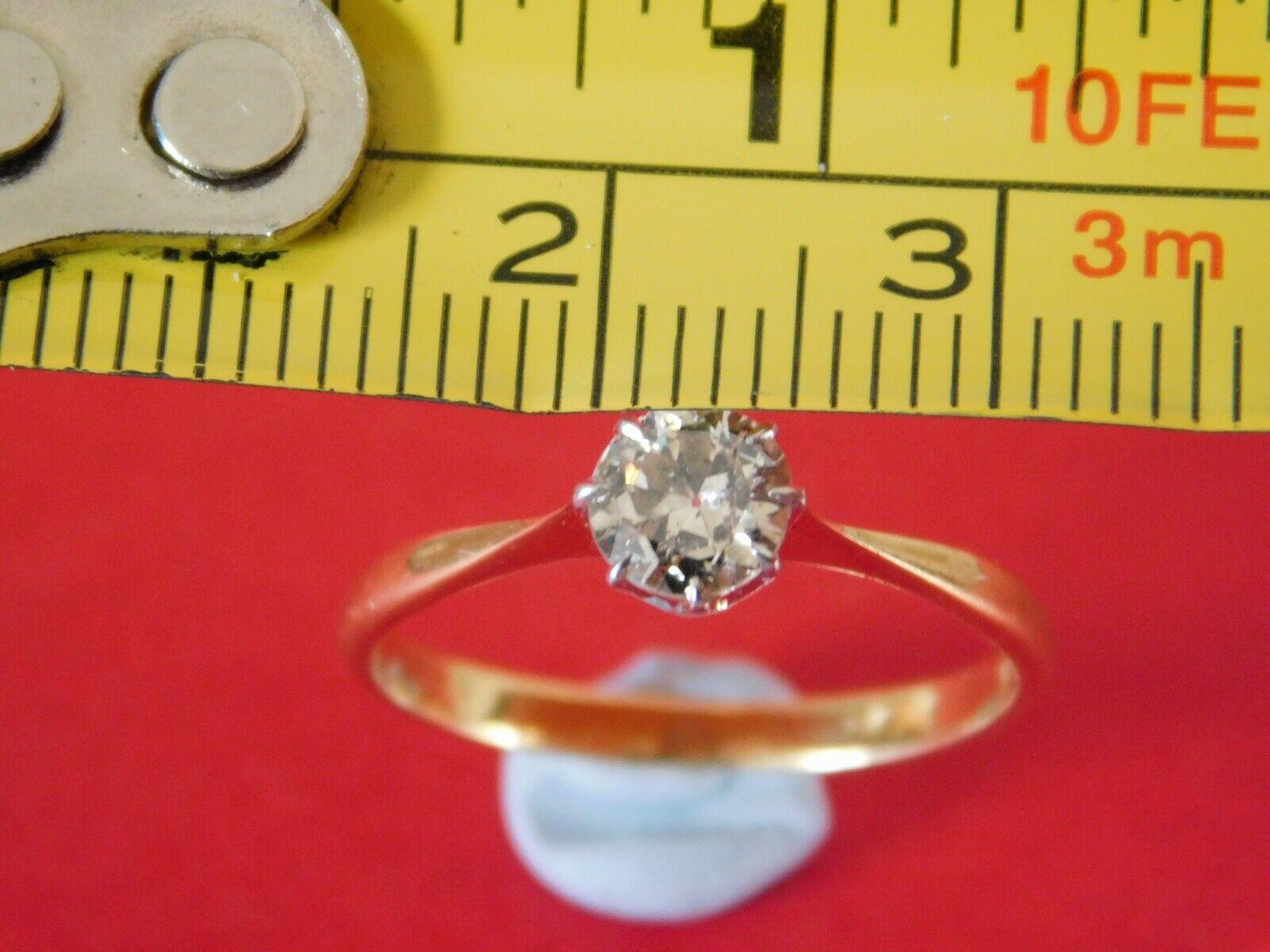 18ct GOLD & PLATINUM DIAMOND RING – DIAMOND SOLITAIRE 50. POINTS HALF CARAT