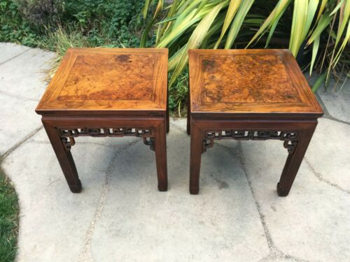 2 RARE ANTIQUE CHINESE WOOD SIDE TABLE  wood asian art chair