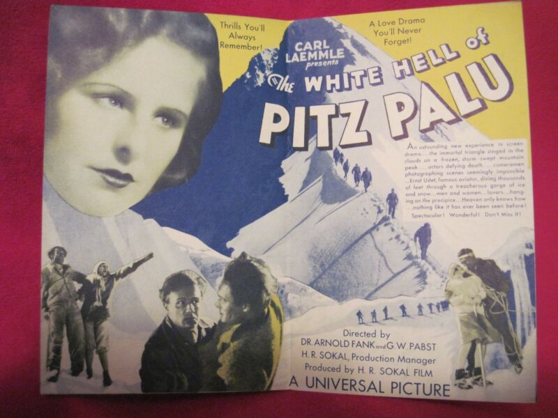 LENI RIEFENSTAHL - THE WHITE HELL OF PITZ PALU - ORIGINAL MOVIE HERALD 1929