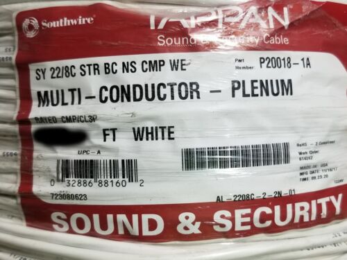 Southwire/Tappan 22/8C Stranded N/S Plenum Sound & Security Cable White /100ft