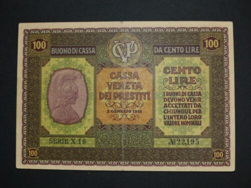 Italy CASSA VENETA 100 lire P.M8 1918 RARE XF