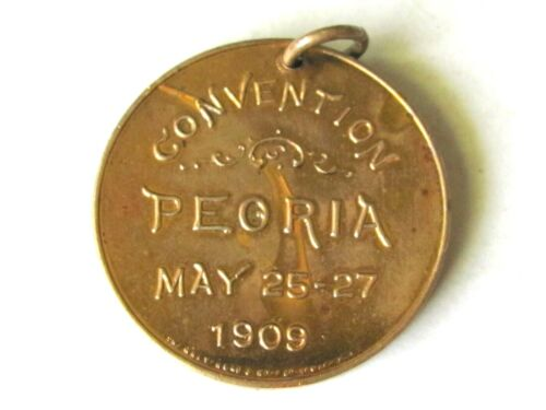 1909 ILLINOIS SUNDAY SCHOOL ASSN , CONVENTION IN PEORIA ILL MEDAL