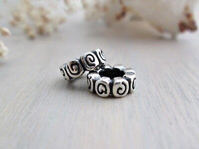 (Sterling Silver Flower Rose Swirl Spiral Spacer Bead for European Charm Bracelet)