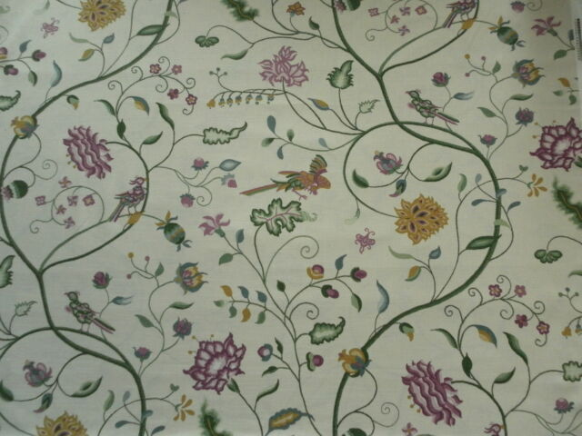 Sanderson Curtain Fabric RANEE 5.2m Plum/Linen Printed Embroidery Design 520cm