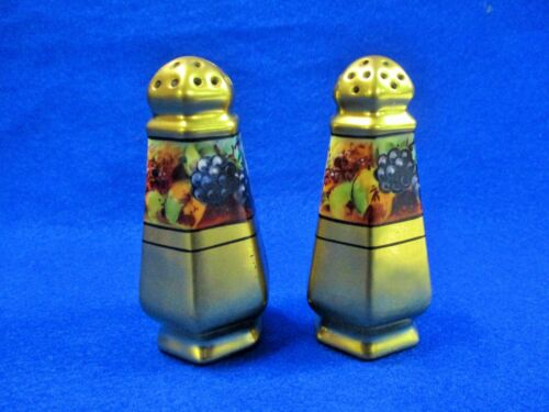 GOLD PORCELAIN HAND PAINTED GRAPES STOUFFER SALT & PEPPER SHAKERS PICKARD