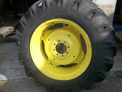 Two 13.6x28 13.6-28 R1 12 Ply Tractor Tires On 4 Double Loop Wheels Wcenters