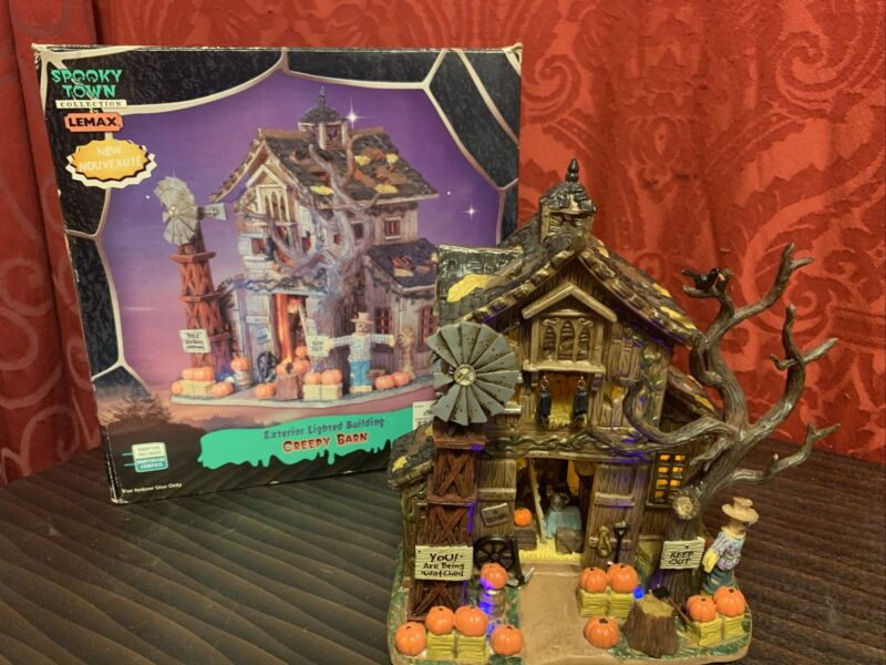 Rare 2005 SPOOKY TOWN Halloween Village CREEPY BARN Eerie Purple Lights LEMAX