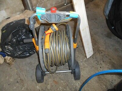 Hozelock 90m Assembled Metal Hose Cart Garden Reel Trolley with hose and fitting