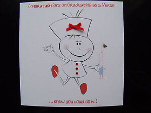 Luxury Handmade Congratulations Graduating as a Nurse card - Can be personalised
