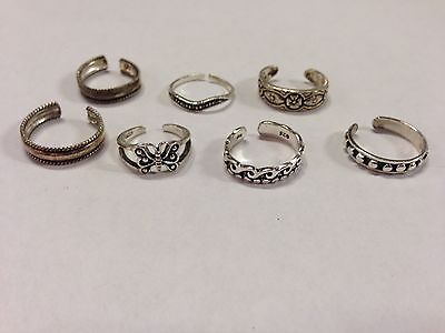 Collection of 7 sterling Toe Rings