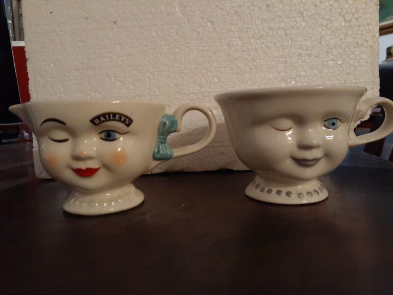 2 BAILEYS Tea Cups Coffee Winking Woman Face Yum and baileys Helen Hunt
