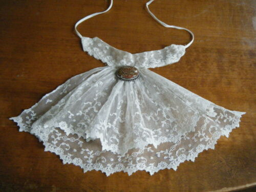 Old Antique Victorian Jabot net Mechlin lace combo w mesh valenciennes H done.