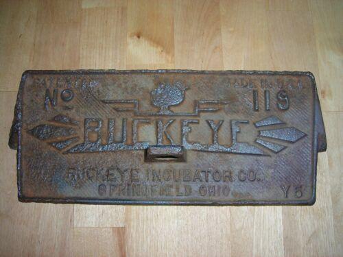 Antique Cast Iron BUCKEYE INCUBATOR DOOR Farm Cover Sign Panel USA Feed Seed