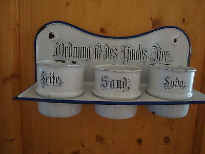 Antik Emaille Wandbord Ordnung ist des Hauses Zier Seife Sand Soda