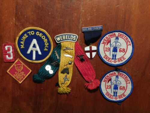 Boy Scout Cub Webelos Patch Pin Lot 1968 Skill O Ree God and Country Ribbon