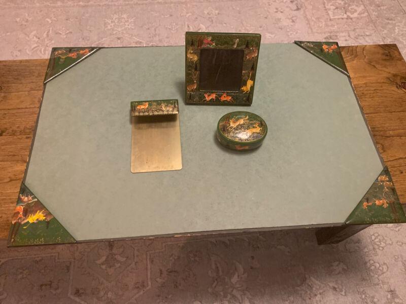 Vintage Desk Set Hand Painted Kashmir India Frame Blotter Box Tray Hunting Scene