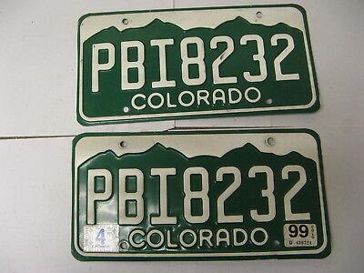 1999 99 Colorado CO License Plate PBI8232 Pair