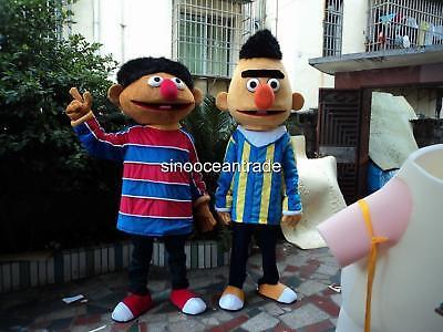 Bert Ernie Costumes Adults (Bert Ernie Sesame Street Mascots Costumes Adult Unisex Birthday Dress Clothing)