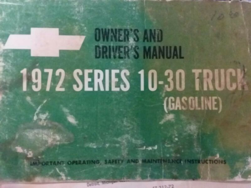 Chevrolet 10 20 30 1972 Pick-Up Truck Owner Operator