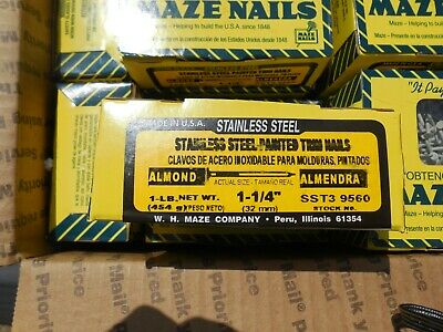 Maze Nails Stainless Steel Painted Trim Nails Almond 14 -1 Lb Box 1 14 Long