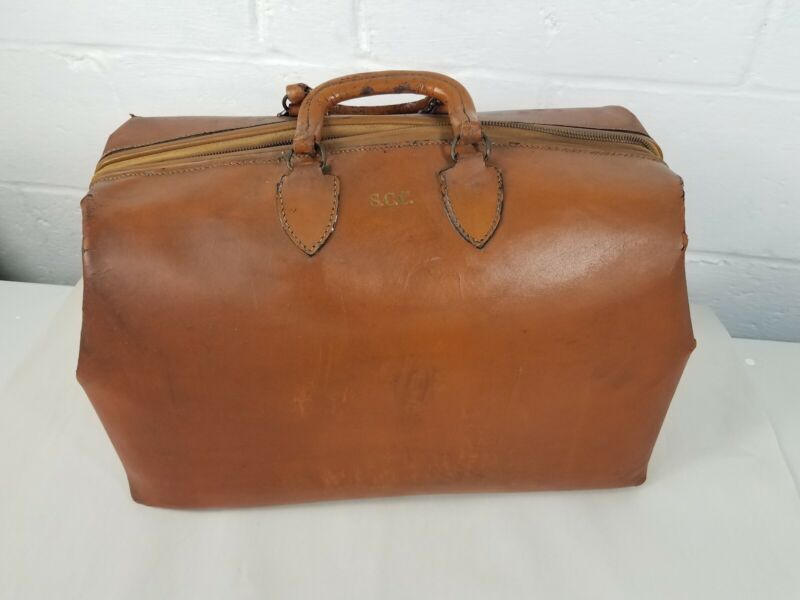 Vintage Doctors Bag Leather Brown CLE Oh Dr. With Newsprint