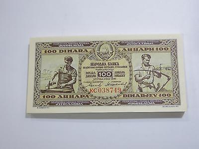 National Bank 1946 Yugoslavia 100 Dinara Gem Unc Old Banknote Collection Lot