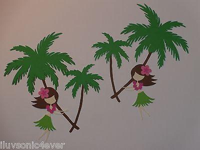 2 hula girls + 2 palm trees  die cut scrapbook die cuts