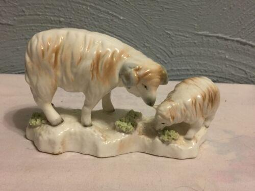 "Vintage Ram and sheep Porcelain Figurine  ""Spaghetti"" Grass"
