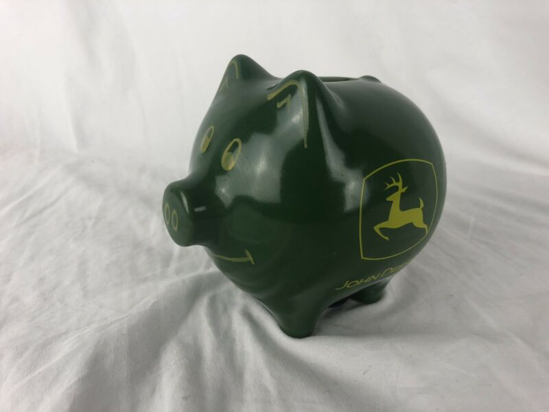 John Deere Ceramic Piggy Bank Stoneware Smiling Pig Green Yellow Authentic Logo