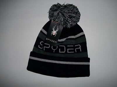 Spyder Fleece Beanie (SPYDER Black ICEBOX Fleece Lined Knit POM Cuffed Beanie HAT Mens One Size  NEW)