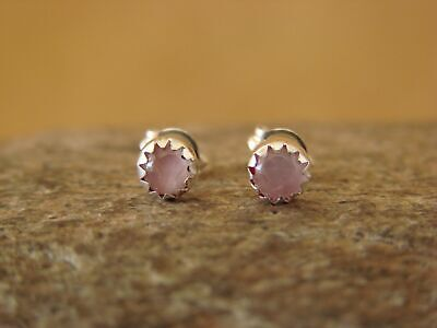 Small Native American Sterling Silver Pink Dot Post Baby Earrings! Navajo