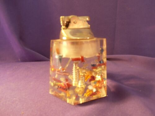 """Vintage Cigarette Lighter/Paperweight CLEAR WITH ASSORTED SCREWS 4"""" TALL"""