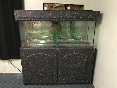 50 Gallon Fish Tank Aquarium with Wooden Stand and Accessories