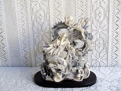 """****** 7"""" x 6"""" CHINESE CARVED RESIN DRAGON STATUE ON STAND ******"""
