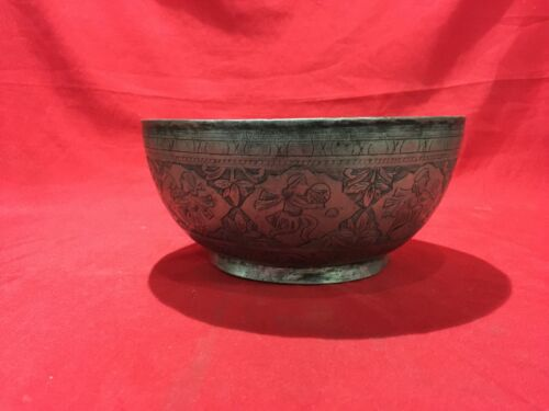 HUGE ANTIQUE ISLAMIC COOPER BOWL WITH BEATIFUL ENGRAVINGS AND FLORAL DECORATION