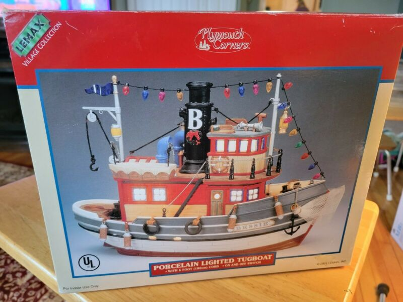 """LEMAX Village Collection Lighted 2001 """"BESSIE TUGBOAT""""  #15541"""