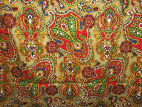 VTG Sewing Fabric Paisley Floral Print Gold Red Blue Craft Woven 2 YDS